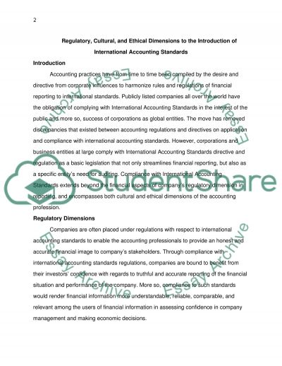 Regulatory, Cultural and Ethical Dimensions to the Introduction of International Accounting Standards essay example