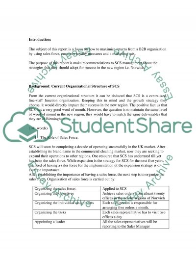 Business to Business Marketing Case Study essay example