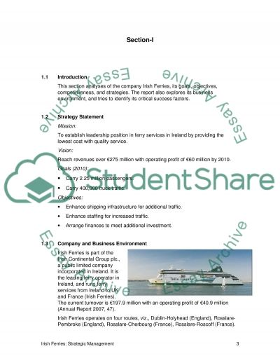 Irish Ferries Strategic Management Case Study example