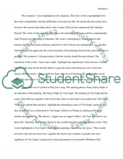 vincent by don mclean essay example topics and well written  vincent by don mclean essay example