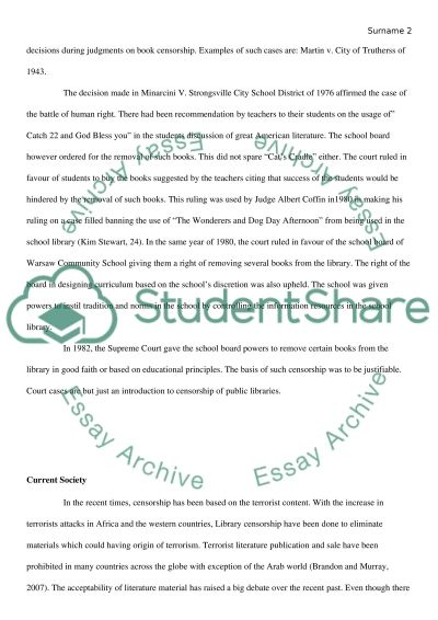 Censorship of Books in Schools and Public Libraries essay example