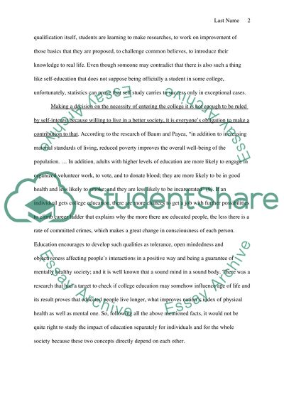 Is a college education worth it Pro thesis paper