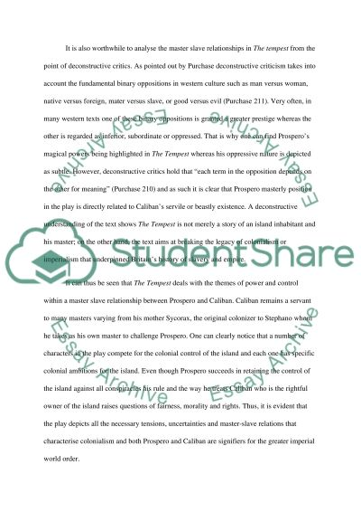 master slave relationships in shakespeares the tempest essay  text preview