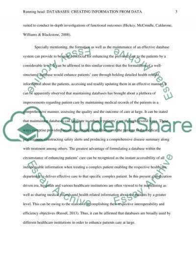 Databases: Creating Information From Data essay example