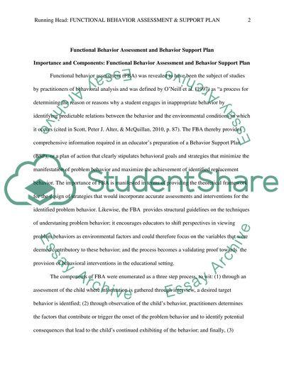 Functional Behavior Assessment and Behavior Support Plan