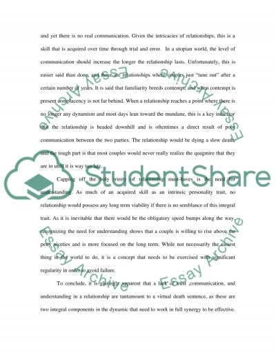 Reasons that Relationships Fail Essay example