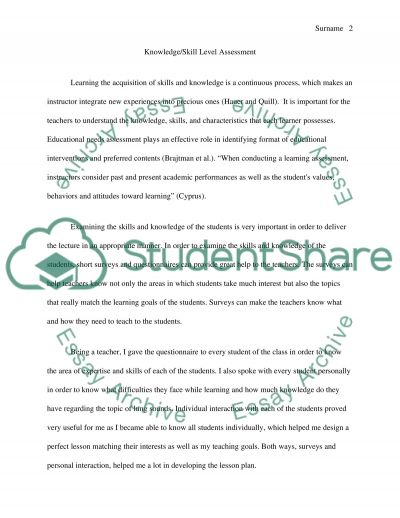 Lesson planning: needs assessment and learning objectives