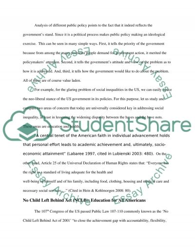 Compare and contrast / choose two public policy areas essay example