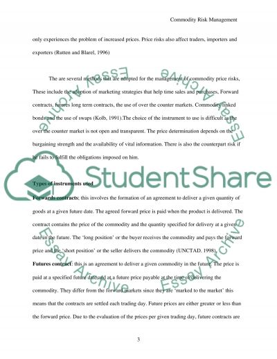 Commodity Risk Management essay example
