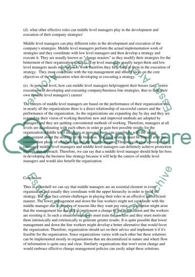 Helping Company Strategy to Help Your CareerThe Perspective Of Middle Level Managers essay example