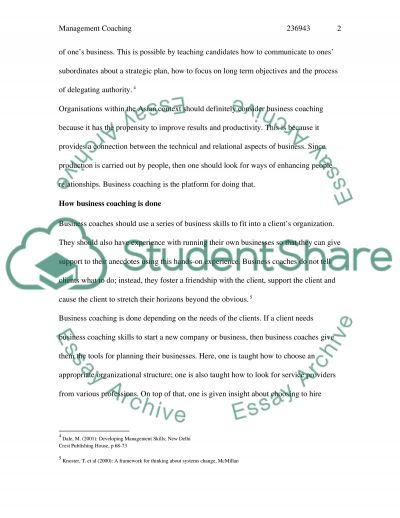 Management Coaching essay example