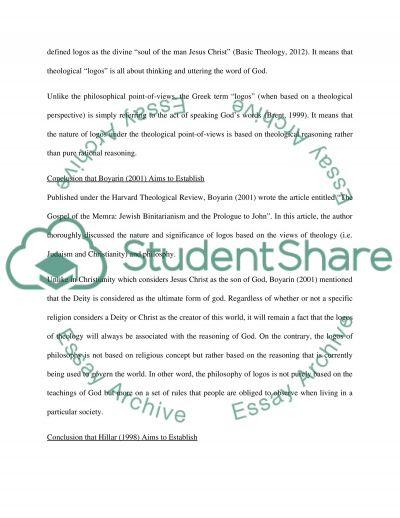 Reason, Faith and Logos essay example