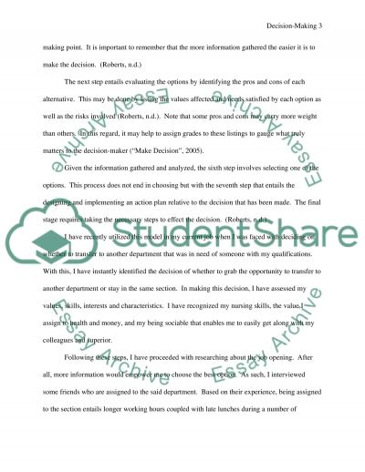 Decision Making Model Essay example