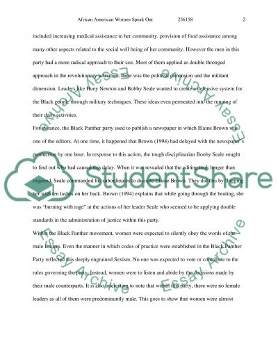 African American Women Speak Out essay example