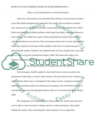 Effects of Long Working Hours on Nurse Performance essay example