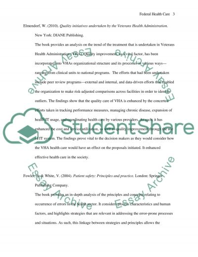 Federal Health Care Quality Annotated Bibliography