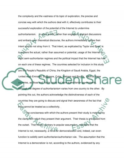 The Impact of the Internet on Authoritarian Rule essay example