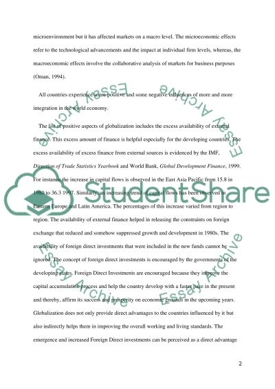 The pros and cons of Globalization essay example