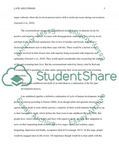 Late Adulthood Paper Essay example