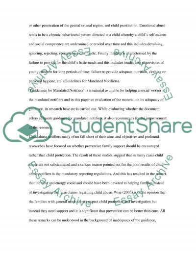 Working with Children who have been Abused essay example