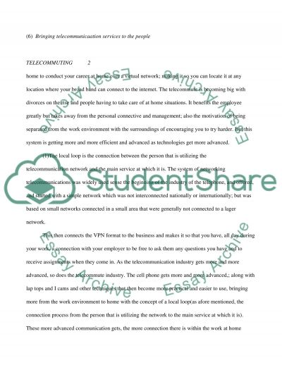 Telecommuting (Working from Home) essay example
