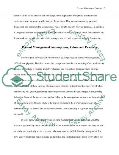 Personal Management Framework Paper (Evolution of Management Class essay example