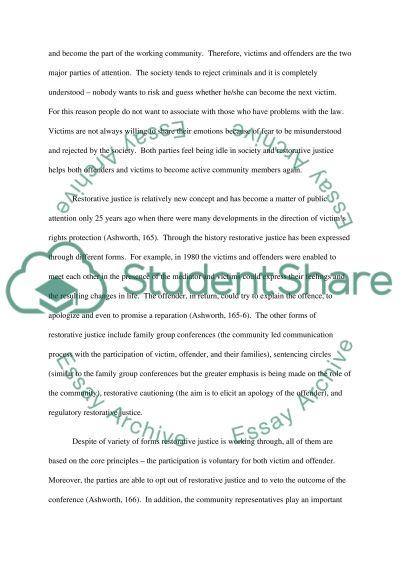 Restorative justice essay example