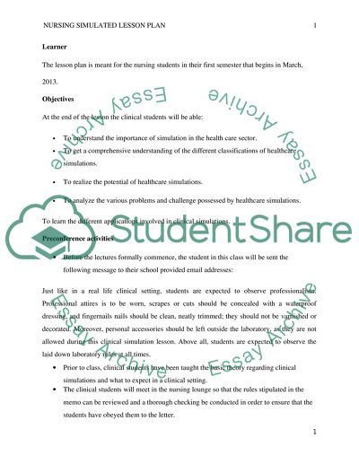 Nursing simulated lesson plan Assignment Example | Topics