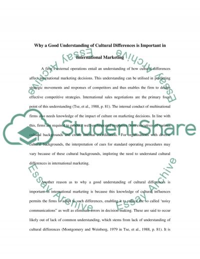 RELATIONSHIPS & CULTURE essay example