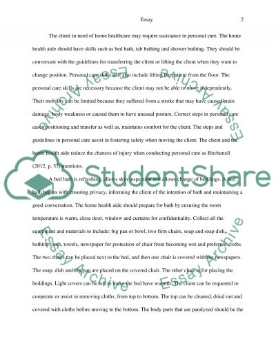 Personal Care Services by the Home Health Aide essay example