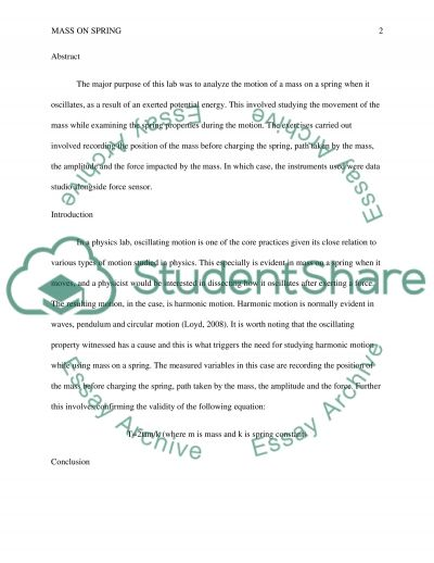 SIMPLE HARMONIC MOTION:MASS ON SPRING essay example