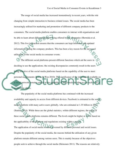 Use of Social Media in Consumer Events in Kazakhstan essay example