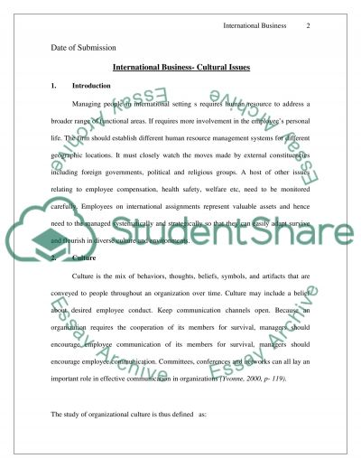 International Business - Cultural Issues essay example