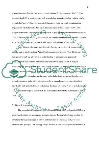 apology behaviour essay example