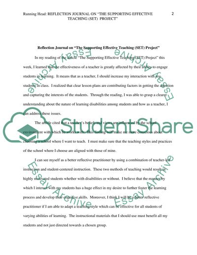 Reflection Journal on The Supporting Effective Teaching (SET) Project