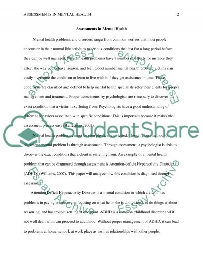 Assessments in mental health essay example
