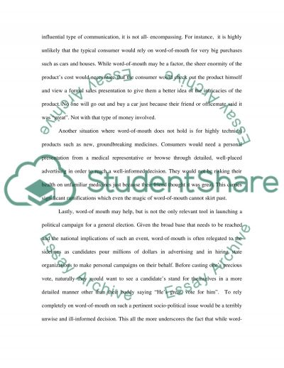 Word of Mouth in Marketing essay example