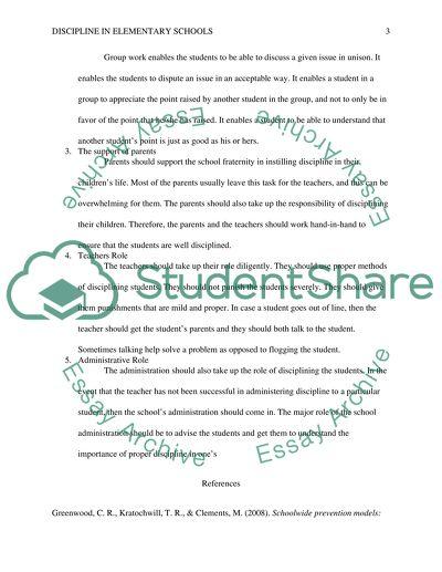 Discipline policy in elementary schools