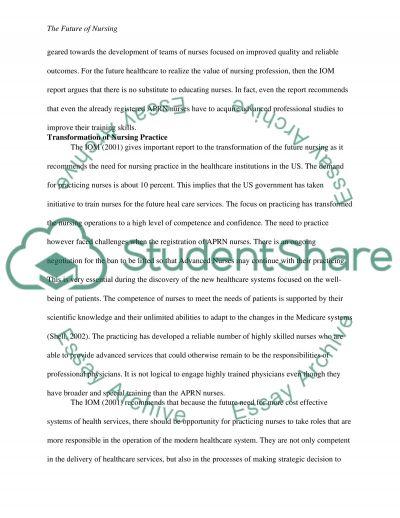 The Future of Nursing essay example
