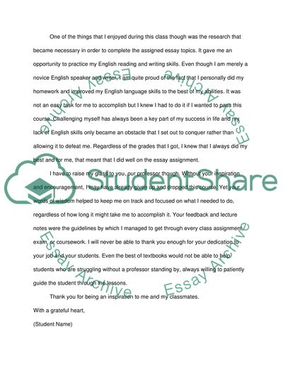 Unit 15: Letter to the Instructor (1) - Assignment
