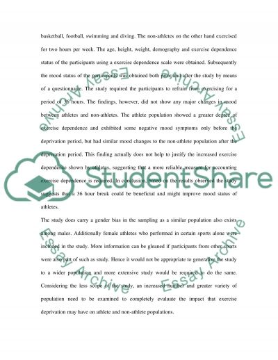 Exercise Deprivation on Mood essay example
