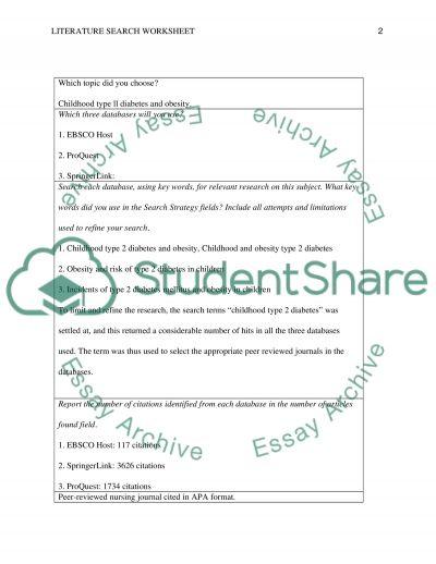 Literature Search Worksheet