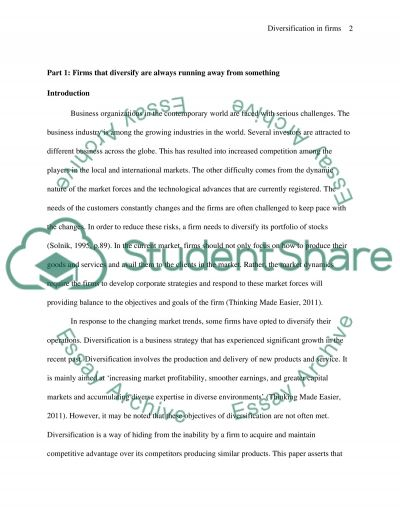 Diversification of Firms  Essay example