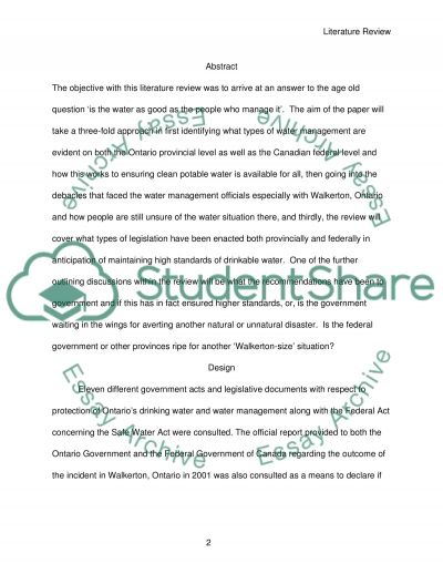 Drinking Water Management on both the Federal and Provincial Level Affecting Ontario essay example