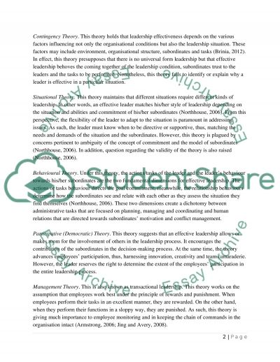 Leadership styles essay example