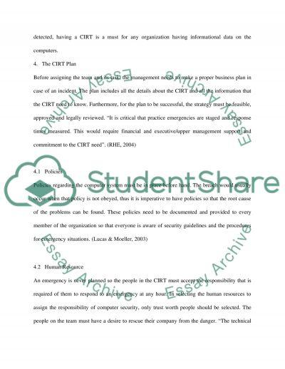 Computer Incident Response Teams Essay essay example