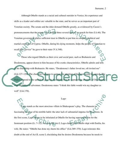 Othello Essay Example | Topics and Well Written Essays - 1000 words - 10