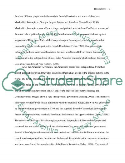 Revolutions essay example