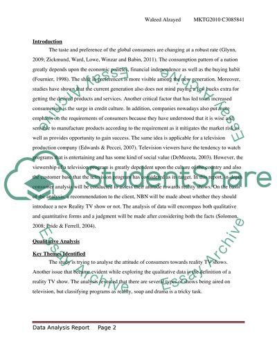 Marketing Research- Individual Data Analysis Report