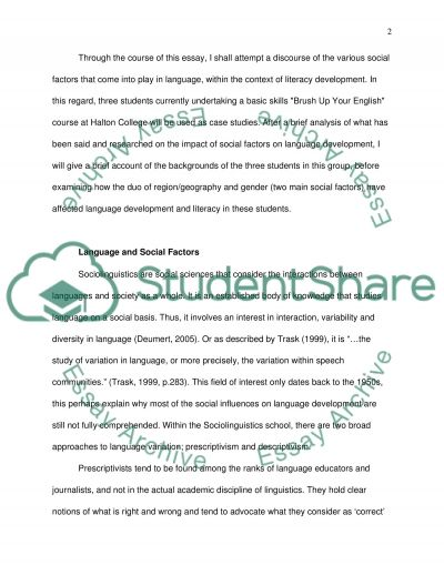 Language and Literacy essay example